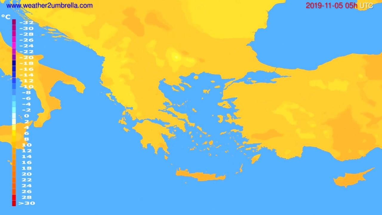 Temperature forecast Greece // modelrun: 12h UTC 2019-11-03