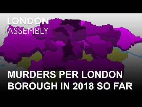 Number of murders per London borough in 2018 so far