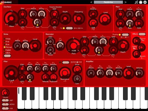 REDSHRIKE Synthesizer by iceWorks Quick Play Demo for the iPad