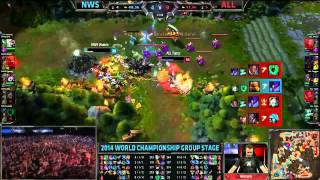 NWS Amazing Escapes - NWS vs ALL - LoL S4 WorldsLeague of Legends LCS HighlightsLike us on Facebook : http://on.fb.me/1k7FA5oFollow us on Twitter : http://bit.ly/1pFYvk4Google+ : http://bit.ly/1rGSdDCIf you want to see more League of legends highlights, Please hit the subscribe button for more entertainment. :)Partner with Freedom! ➜ http://www.freedom.tm/via/LoLLCSHighlights07 - Be free.Get more views!➜ http://www.freedom.tm/grow - Grow with us.Become a network!➜ http://www.freedom.tm/network