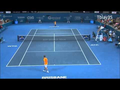 Tennis Best Of 2013 (#3) / Brisbane 2013= Marcos Baghdatis Incredible Shot vs Florian Mayer (HD)