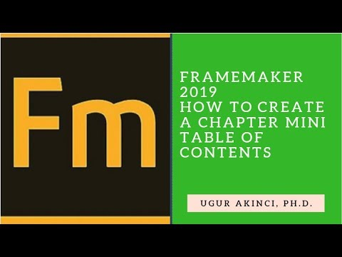 FrameMaker 2019 - How to Create a Chapter Mini TOC