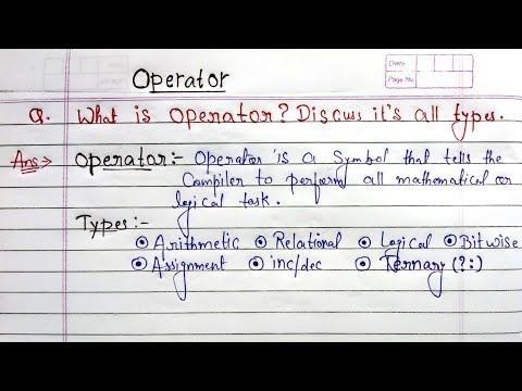 Operators in C language in hindi | what is operator? Discuss it's types in c programming