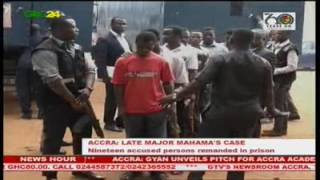 An Accra Magistrate Court has again remanded nineteen accused persons in the Major Mahama murder case in prison custody.  In remanding the accused persons the presiding Magistrate, Ebenezer Kweku Ansah said it is for their own protection and for the good of the police, and the fact that they have caused the police less stress. The case has been adjourned to 3rd August.