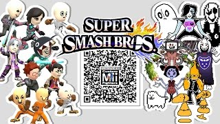 WD Gaster, Mettaton EX, Napstablook, and MORE!! – Mii Fighter QR Codes for Smash Bros