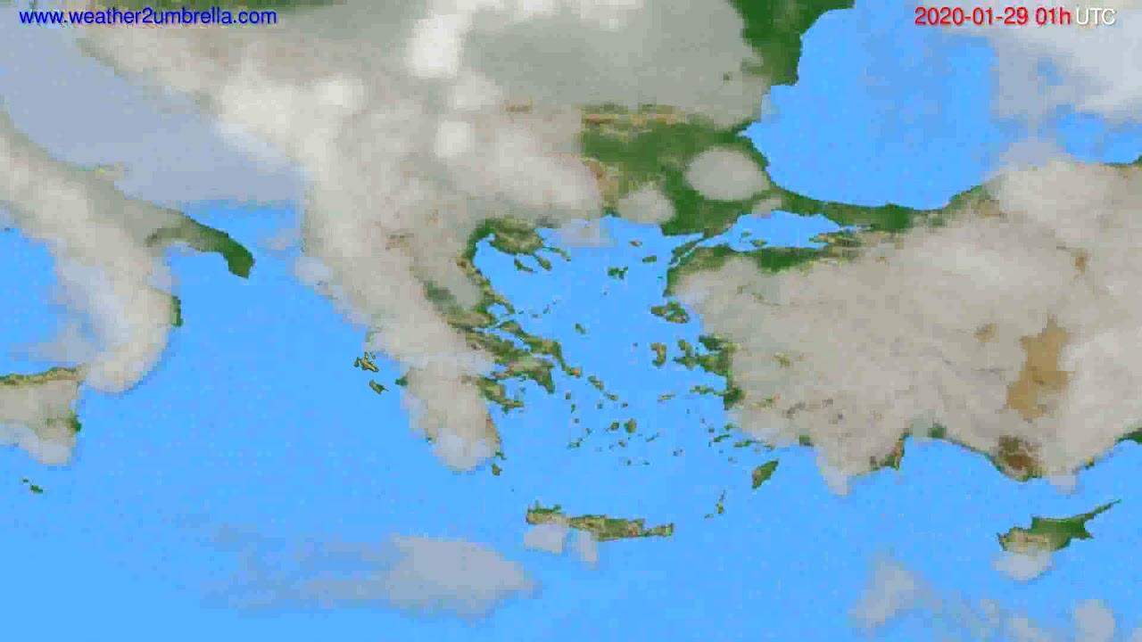 Cloud forecast Greece // modelrun: 12h UTC 2020-01-27