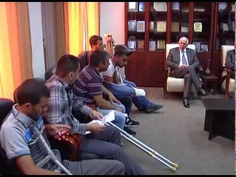 محافظ الخليل يستقبل جرحى المحافظة اثناء فترة العدوان على قطاع غزة  - محافظة الخليل