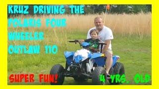 10. Kruz Driving The Polaris Four Wheeler Outlaw 110