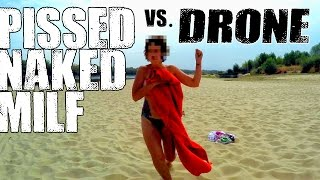 Nie ma takiego opalania! Dron drażni się z półnagą dziewczynę na plaży w Warszawie!
