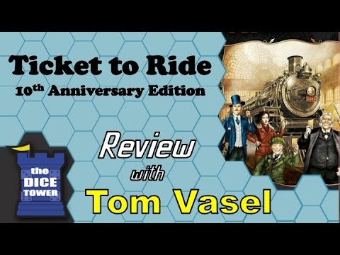10th - Tom Vasel takes a look at the tenth anniversary of the very famous board game, Ticket to Ride Buy great games at http://www.coolstuffinc.com Find more reviews and videos at http://www.dicetower.com.