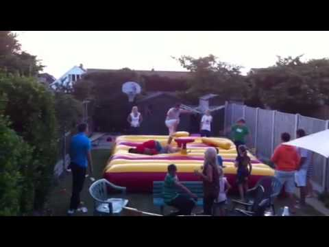 SA vs England jumping castle tackle