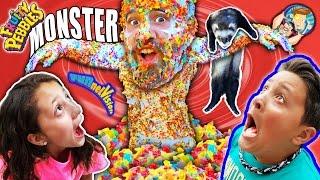 CEREAL MONSTER SCARE CAM!  Fruity Pebbles + Glue + Dallas the Pizza Guy + Ferret (FUNnel Vison Vlog)