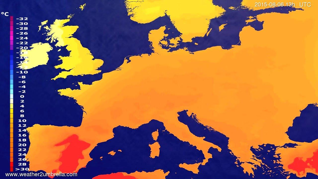 Temperature forecast Europe 2015-08-03