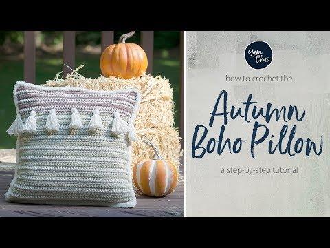 Autumn Boho Pillow  |  Complete Crochet Pattern by Yarn + Chai