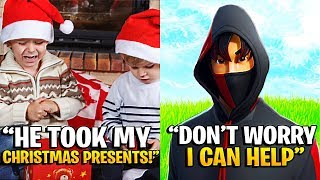 Little Kid LOST His CHRISTMAS PRESENTS To His BEST FRIEND, So I Did This... (Fortnite)