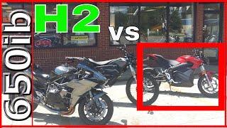 Video Zero SR electric motorcycle SMOKES Ninja H2!!! MP3, 3GP, MP4, WEBM, AVI, FLV Juli 2019