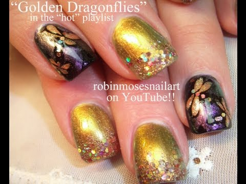 Rose Gold Dragonfly Nail Art