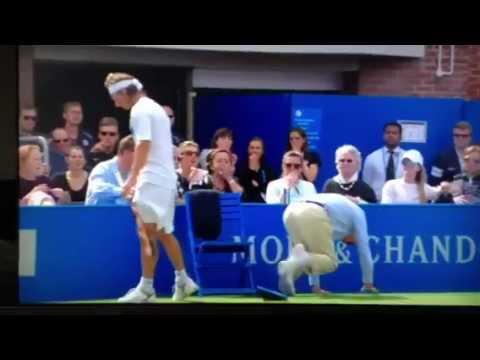kicks linesman - David Nalbandian kicks linesman in frustration at the AEGON Queens club final 2012 and seriously injures him.