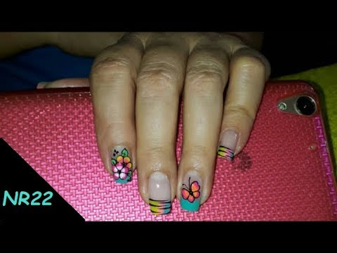 Decorados de uñas - DECORACIÓN DE UÑAS- FLORES CON MARIPOSA- DECORATION OF NAILS- FLOWERS WITH BUTTERFLY-NR22