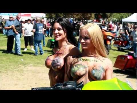 Sexy Topless Models,harley stunts & custom baggers
