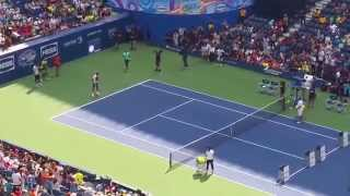 Serena Williams, Roger Federer, Rafael Nadal and Marin Cilic Playing Tennis at US Open Arthur Ashe Kids Day 2015 Serena...
