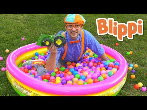 Learn Colors with Blippi in The Ball Pit   Colorful balls and trucks - Educational Videos for Kids