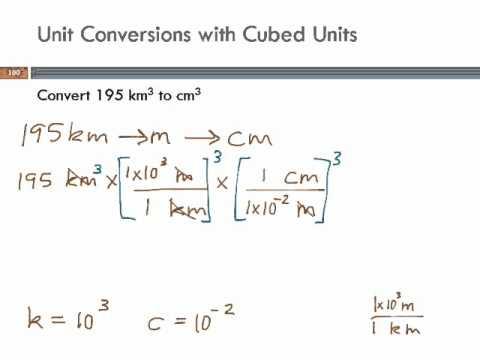 Unit Conversions with Cubed Units: cubic km to cubic cm