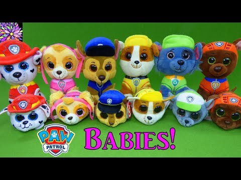 Paw Patrol Baby Pups Play Hide and Seek Game Skye Chase Marshall Rocky Rubble TY Teeny Plush Toys