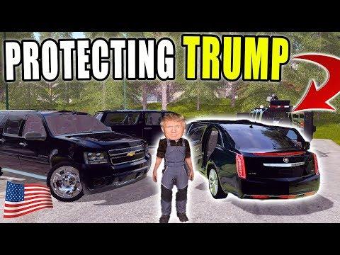 SECRET SERVICE PROTECTING PRESIDENT TRUMP | MOTORCADE | FARMING SIMULATOR 2017