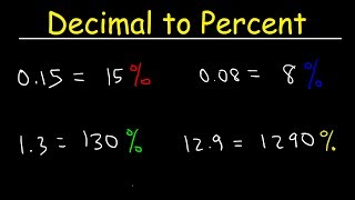 This math video tutorial explains how to convert a decimal into a percent by multiplying by 100 or moving the decimal point 2 spaces to the right.