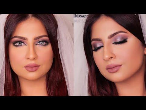 How to do bridal makeup مكياج عروس بسيط جدا بدرجات البنفسجي مع فاطمة الدوسري (видео)