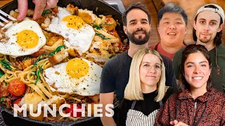 Battle Of The Breakfast Pastas - MUNCHIES Cook-Off by Munchies