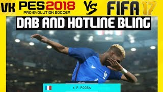 Here is a video showcasing the Pogba Dab in PES 2018 as well as the Hotline Bling in PES 2018 and comparing it to FIFA 17.Welcome to the #1 Place for Player Faces on Youtube! Subscribe for FIFA 18 and PES 2018 news and player faces videos: 🔴  Subscribe to the channel here: https://goo.gl/AaHRHe .✅  Join the Vapex Club for exclusive newsletters and 2 Private videos (FIFA 18 player face suggestions and PES 2017 Mods): http://eepurl.com/cO1skn✅  Help keep this channel going!https://www.patreon.com/VapexKarma---------------------------------------------------------Available September 29, 2017. FIFA 18 is fueled by Cristiano Ronaldo, all-time top scorer of Real Madrid C.F. and winner of the Best FIFA Men's Player Award.Pre-Order the Ronaldo Edition and get 3 Days Early Access: http://smarturl.it/qoctk5Powered by Frostbite, FIFA 18 blurs the line between the virtual and real worlds, bringing to life the heroes, teams, and atmospheres of the world's game. --------------------------------------------------------PES 18 (PES 2018) is scheduled to be released on the 14th of September.Pre-order now to receive exclusive content:• 2x Premium Partner Agents for myClub• UCL Agent for myClub• Exclusive Agent for myClubYou will also receive bonus myClub content:• 4x Start Up Agents• 1x Partner Club Agent• 10,000 GP x 10 weeksPES 2018 new features:• Gameplay Masterclass – Strategic Dribbling, Real Touch+ and new set pieces take the unrivalled gameplay to the next level• Presentation Overhaul – New menus and real player images• PES League Integration – Compete with PES League in new modes including myClub• Online Co-op -A mode dedicated to co-op play is newly added• Random Selection Match – Fan favourite returns with new presentation and features• Master League Upgrade – New pre-season tournaments, improved transfer system, presentations and functionality • Enhanced Visual Reality – New lighting, reworked player models and animations covering everything from facial expressions to body movement to bring the game to life----------------------------------------------------------► Subscribe to my Other Channel https://www.youtube.com/channel/UC-OlFXbaW43YlKqfVy1Tp6g►2nd Channel featuring non player faces content (uploads occasionally): https://www.youtube.com/channel/UCjXed8aFG8cxnYm0iNQraWg?tbft=1►If you would like to Donate (just like Twitch) to support my content :  https://streamtip.com/y/vapexkarma--------------------------------------------------------► Twitter: @vapexkarma ► Facebook: @vapexkarma► Instagram: @vapexkarma► Podcast: anchor.fm/vapexkarma----------------------------------------------------------► My Best videos: https://www.youtube.com/playlist?list=PLeVkMvUsXzoEdcbKCQIIUxwTNvppKYBQo► PES 2017: Inter Milan Master League: https://www.youtube.com/playlist?list=PLeVkMvUsXzoHZBuaHdW8ieM1ROA3xD6p9► FIFA 17 vs PES 17 Player Face Comparisons: https://www.youtube.com/playlist?list=PLeVkMvUsXzoFjICBaqUzkwoDYbuLribm4----------------------------------------------------------FIFA 17 is a sports video game made by EA Sports released on the 27th of September 2016 in America and 29th September 2016 worldwide. It uses the Frostbite engine and Marco Reus is the official cover star. Available on PS4, PS3, Xbox One s, Xbox one, Xbox 360 and PC.----------------------------------------------------------Pro Evolution Soccer or PES 2017 (also known as Winning Eleven 2017 in asia) is a sports video game made by Konami for Microsoft Windows, PlayStation 3, PlayStation 4, Xbox 360 and Xbox One. The game is the 16th installment in the Pro Evolution Soccer series. It was released in September 2016 and will be compatible with PS4 Pro console. Partner clubs include Barcelona, Liverpool, Borussia Dortmund and River Plate which means they have the official stadiums and kits as well as player names.Features include improved passing, Real Touch ball control, and improved goal tending technique. The cover of the game has Neymar, Messi, Suárez, Rakitić and Piqué.Game features include adaptive AI, edit and data sharing (through option files) and Match analysis.----------------------------------------------------------------------------------Production Music courtesy of Epidemic Sound: http://www.epidemicsound.com----------------------------------------------------------------------------------#PES2018 #FIFA18 #vapexkarma #playerfaces #PES2017 #FIFA17