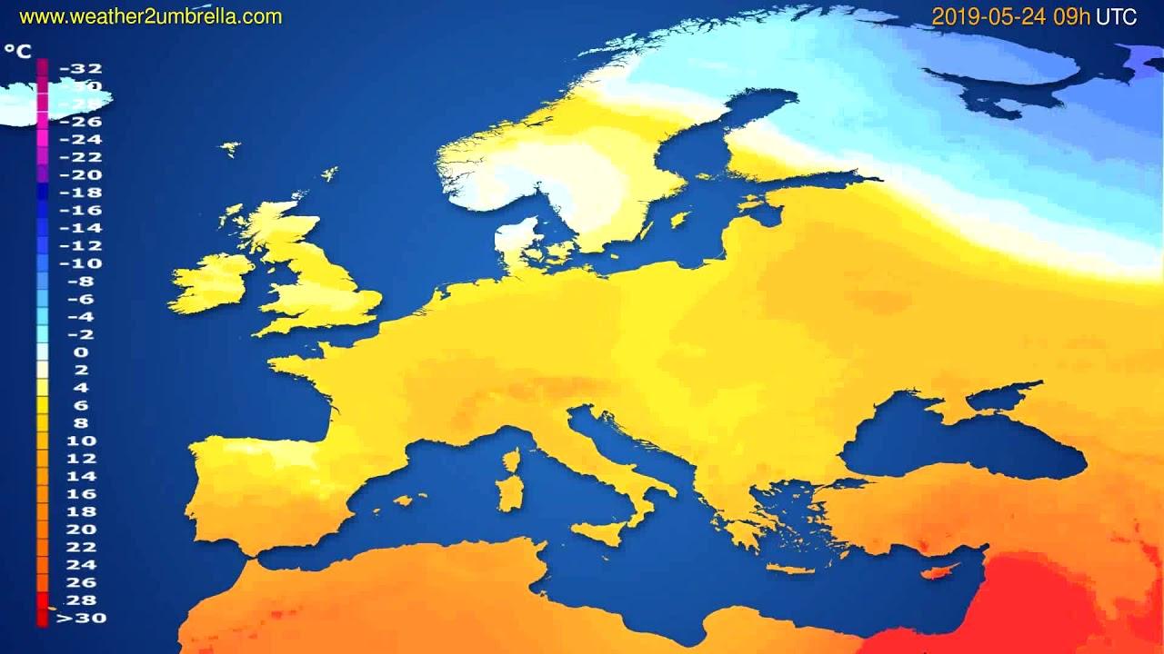 Temperature forecast Europe // modelrun: 12h UTC 2019-05-22