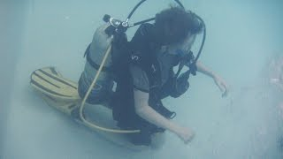 An overview of the First confined water dive in the PADI Open Water Diver Certification.Max is at the 13' foot deep pool at Diving Dynamics in Kelowna, BC, Canada.You can get this certification when you are 10 years old (with some restrictions)