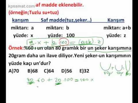 KPSS Matematik Karışım problemleri konu anlatımı