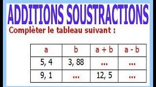 Maths 6ème - Additions et soustractions de nombres décimaux Exercice 11