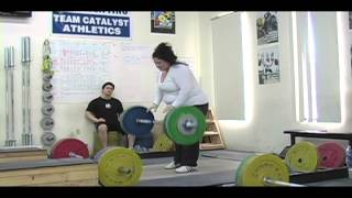 Weightlifting training footage of Catalyst weightlifters. Chyna clean + power jerk, Alyssa clean, Tate jerk, Aimee snatch, Audra snatch pull, Steve power clean + clean + jerk, Alyssa clean, Tamara H clean and jerk, Tamara S clean
