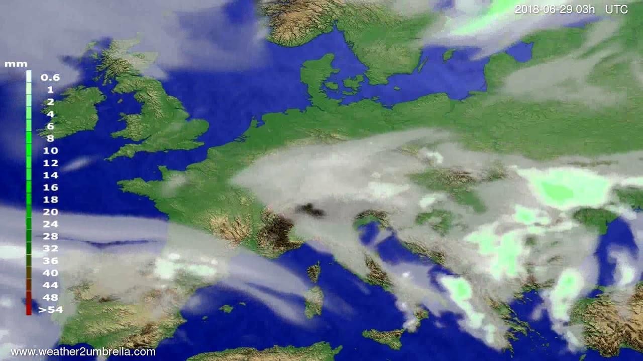 Precipitation forecast Europe 2018-06-26