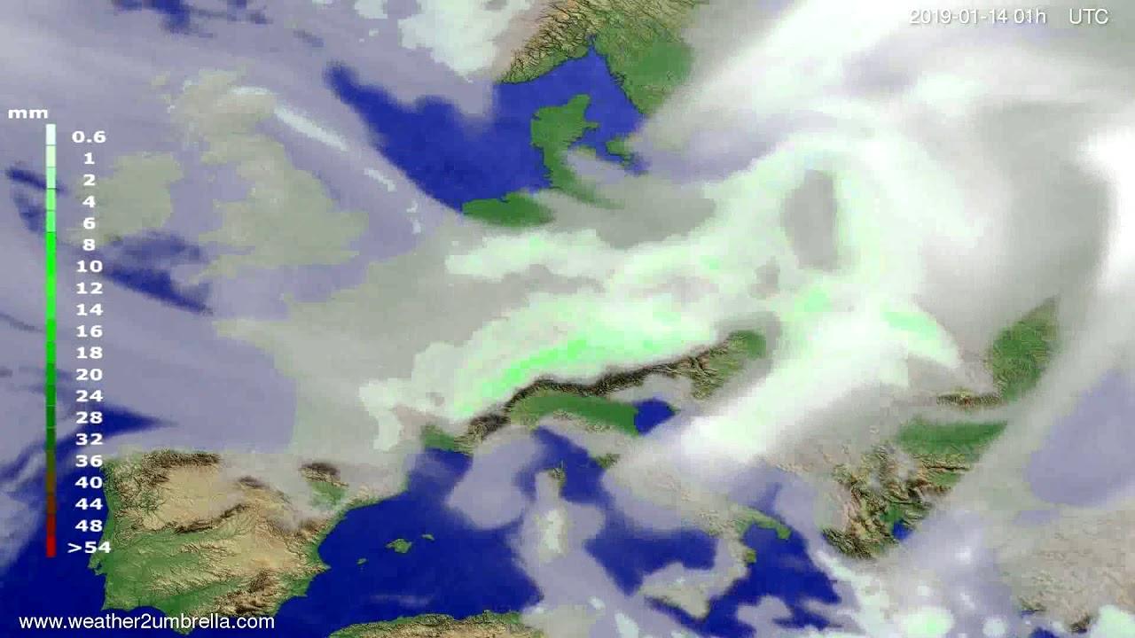 Precipitation forecast Europe 2019-01-11