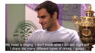 Roger Federer admits he woke up with a sore head after celebrating a record eighth Wimbledon triumph until 5am on Monday morning. Please subscribe, like ...