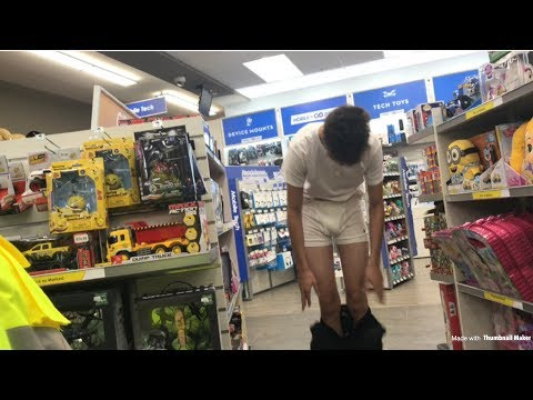 GOING INTO STORES WITH ONLY BOXERS ON!!! видео