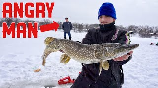 Ice Fishing HUGE Pike In Front of PISSED OFF HOMEOWNER!!