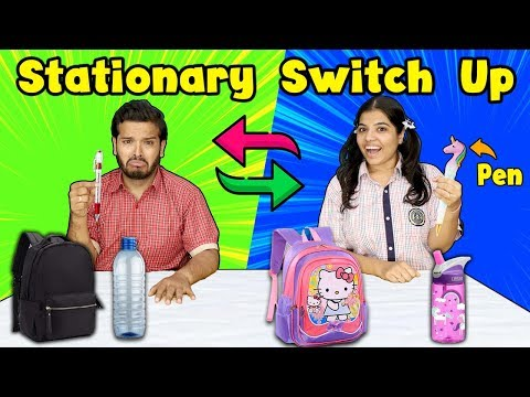 Stationary Switch Up Challenge | School Supplies Switch Or Keep Competition | Hungry Birds