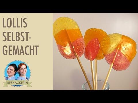 Lollis selbermachen aus Fruchtbonbons