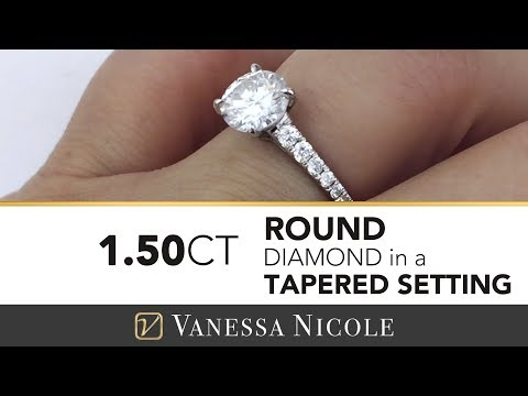 1.50ct SOLITAIRE PAVE ENGAGEMENT RING |  Diamond Solitaire Ring | Vanessa Nicole Jewels