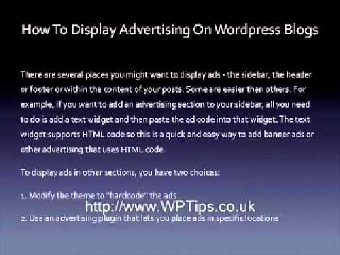 How To Display Advertising On A WordPress Blog