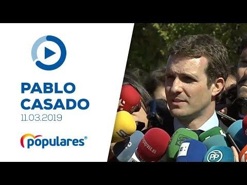 Pablo Casado atiende a los medios tras el acto del Día Europeo de las Víctimas del Terrorismo