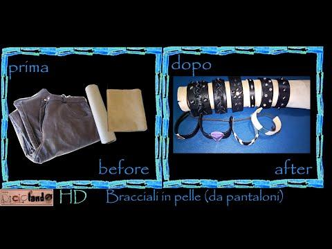 Riciclo creativo pantaloni, tubo carta: Bracciali di pelle rigidi e morbidi - tutorial faidate