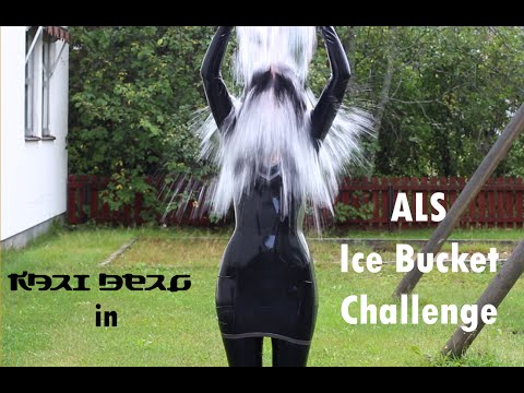 "Kari Berg In Latex Doing The ""ALS Ice Bucket Challenge"""